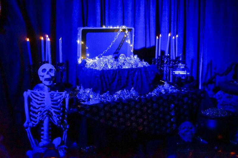 Skeleton and casket full of candy