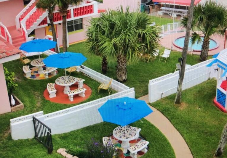 Umbrella-covered tables