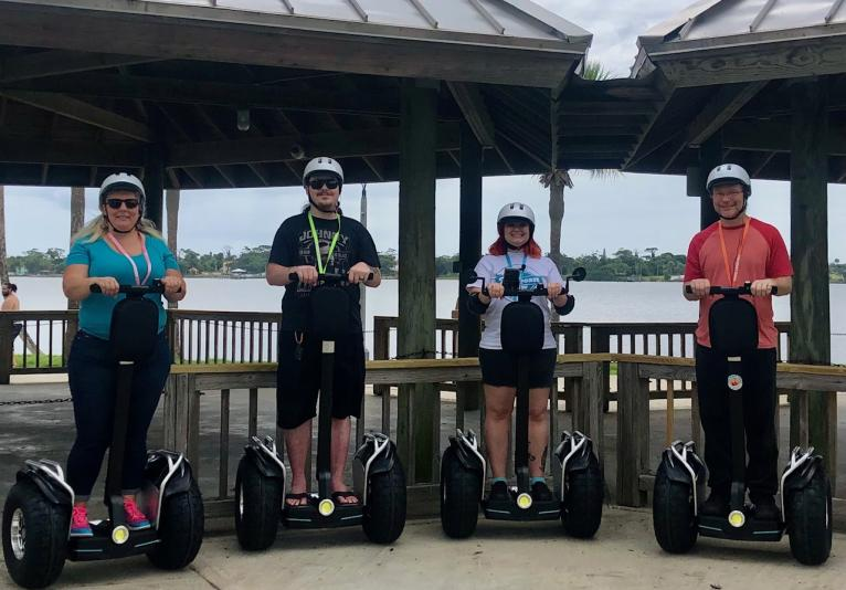 Segways by the water