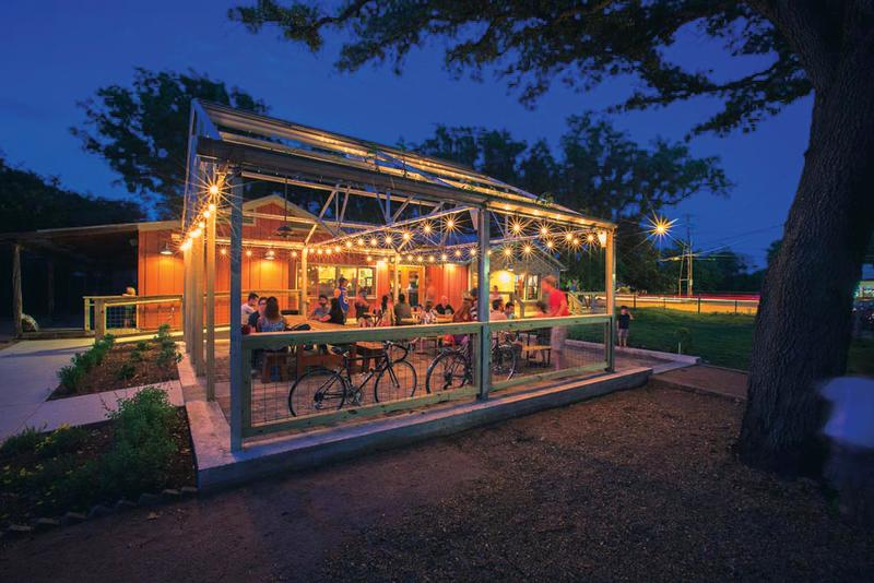 Radio Coffee and Beer patio at night
