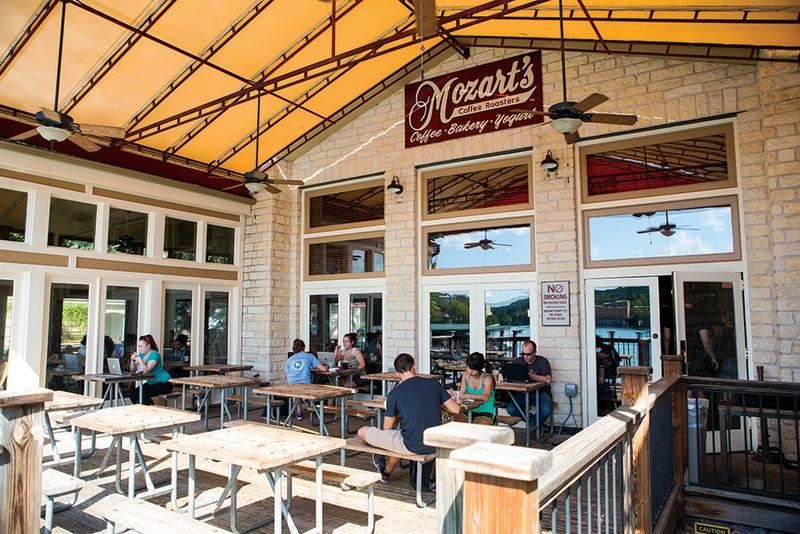 Mozarts coffee patio on Lake Austin