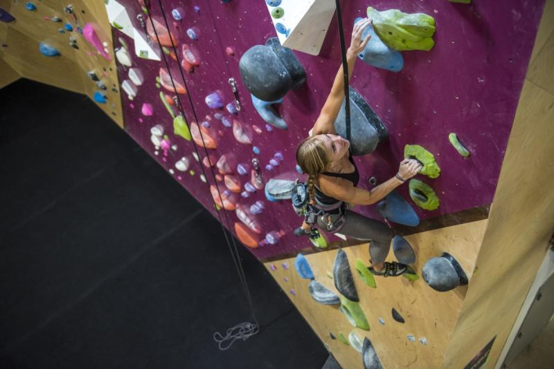 women at Crux Climbing Center in Austin Texas