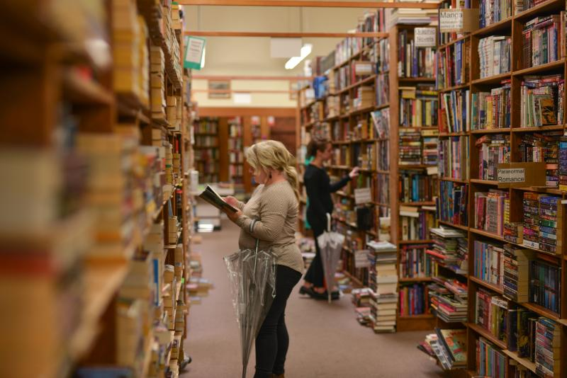 Rainy Day at Smith Family Bookstore by Melanie Griffin