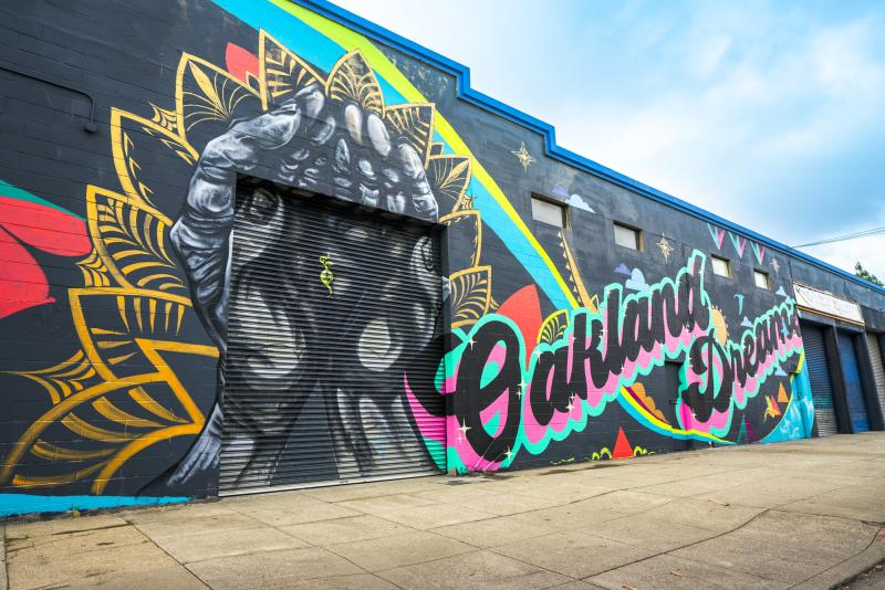 """Oakland Dreams"" Mural painted for Oakland Mural Festival 2018"