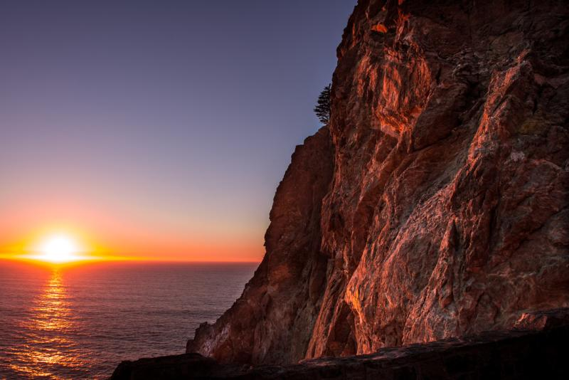 Sunset views at Devil's Slide Trail in Pacifica California