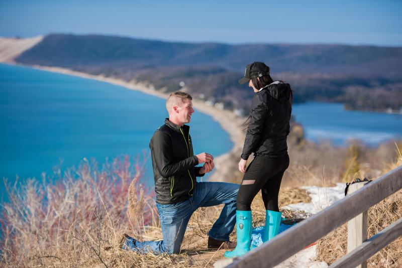 Proposal Couple at Sleeping Bear Empire Bluff