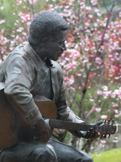 Otis Redding Statue with Cherry Blossoms