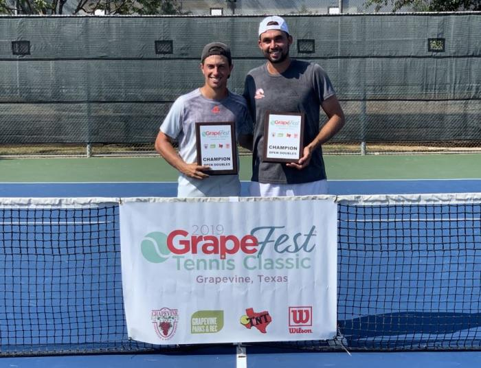 The GrapeFest 2019 Doubles Champions pose with their award plaques