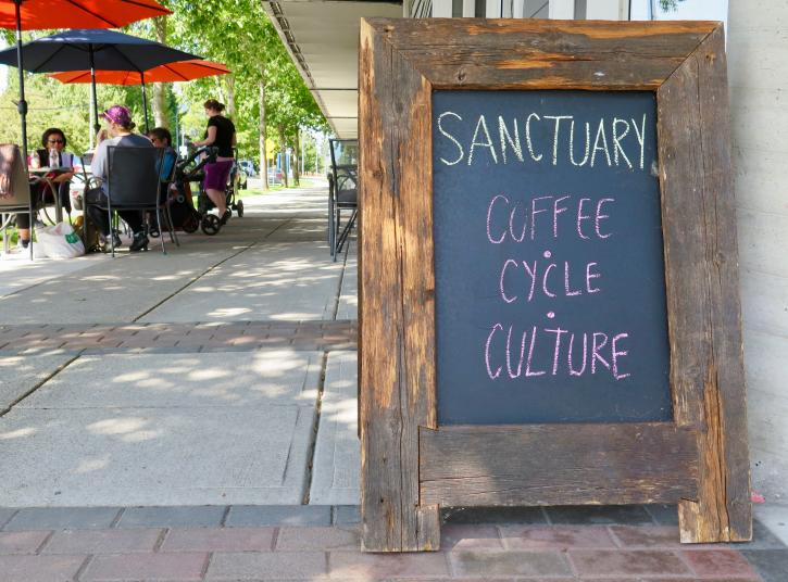 Sign outside the Sanctuary Cafe