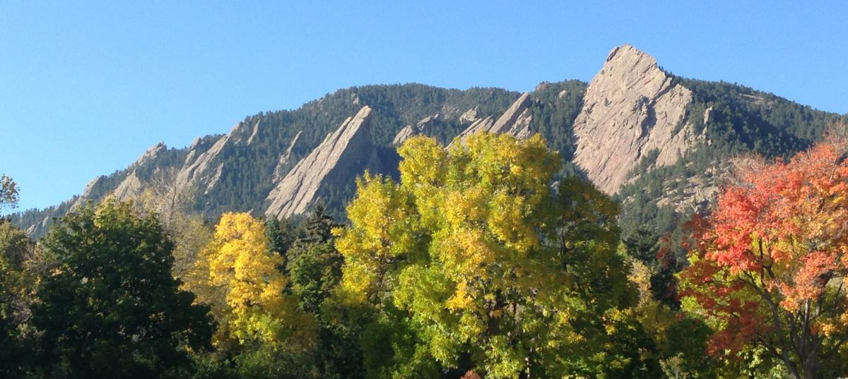 Trees turning yellow, red and orange with the Flatirons in the background