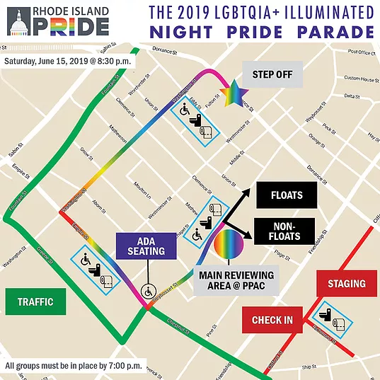 2019 Pride Illuminated Night Parade Map