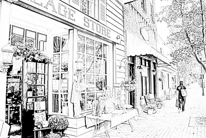 Davidson Village Store Coloring Page