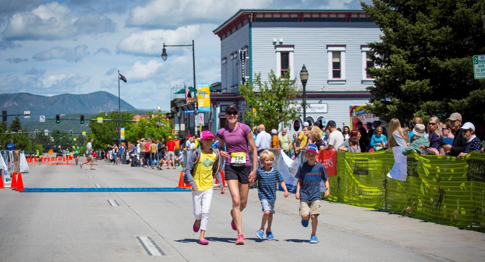 What the runners at the finish line of the Steamboat Marathon in downtown Steamboat