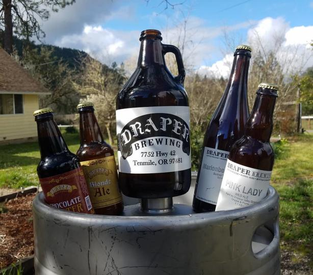 Bottles and growler of Draper beer
