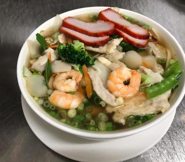 Chinese noodle soup with shrimp and pork