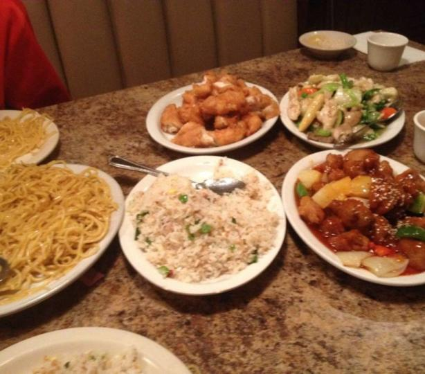 Table full of chinese food dishes