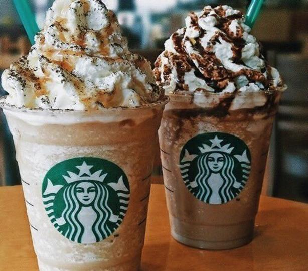 Blended frappuccinos with whipped cream and caramel
