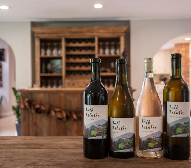 Selection of wines in tasting room