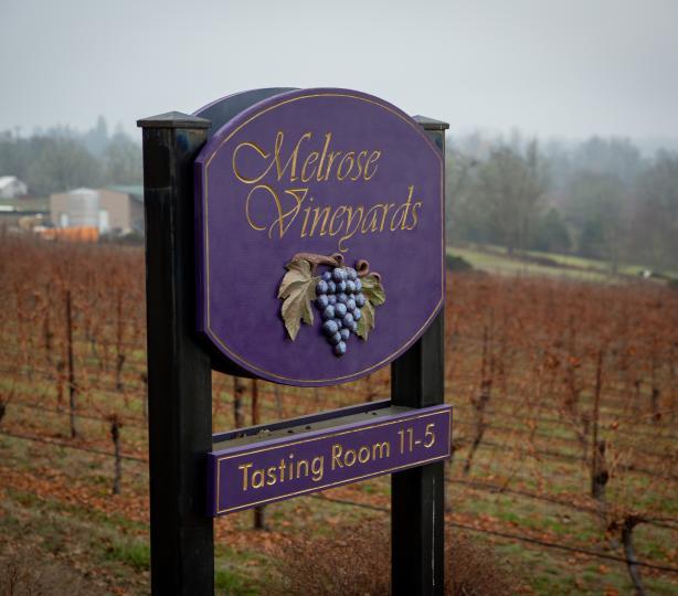 Melrose Vineyards Sign