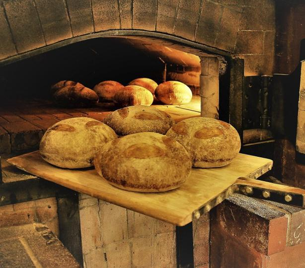 Fresh baked bread being pulled out of a brick oven.
