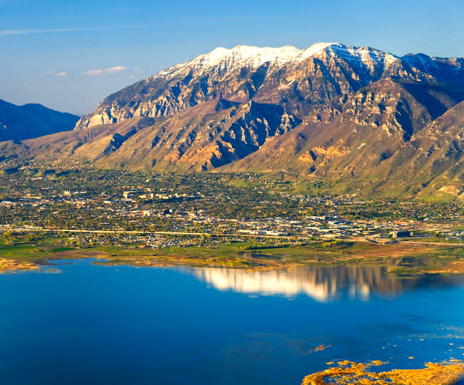 Wasatch Mountains over Utah Lake