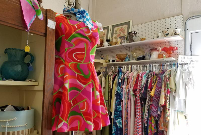 Vintage fashion finds at Yellow Moon Antique Mall in Mooresville.