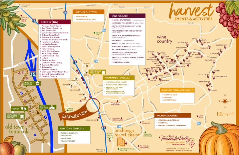 Temecula Valley Harvest Events and Activities Map
