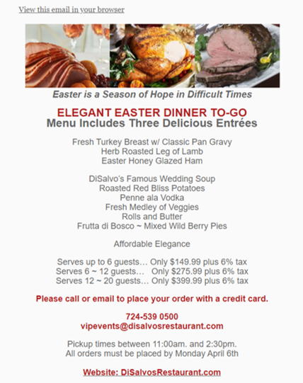 DiSalvo's Easter Dinner to Go