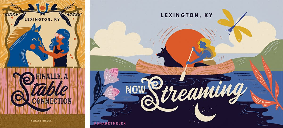 "Two side by side vintage style illustrated post cards. One says ""Finally a stable connection"" with a stylized girl petting a blue horse and the other says ""Now Streaming"" with a stylized girl and her dog canoeing on a river."