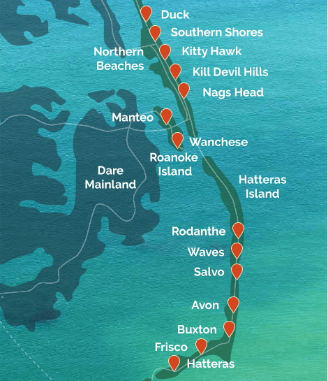 An illustrative map of North Carolina's Outer Banks shows the major towns and communities found on the islands.
