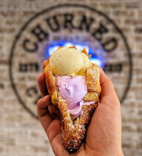 Ice cream in one of Churned Creamery's homemade croissants
