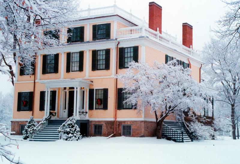 Exterior of the Granger Homestead covered in snow