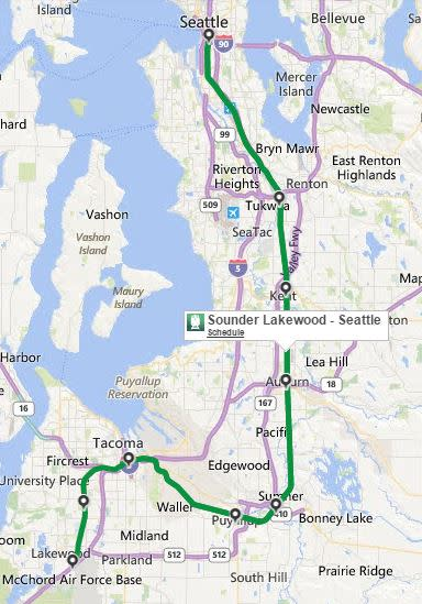 Seattle Sounder route map