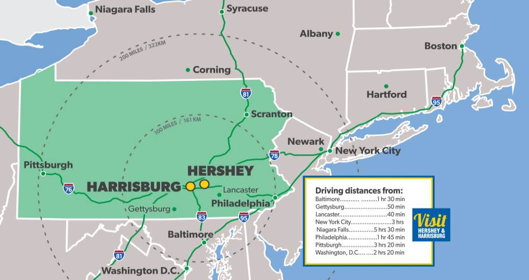 Map of the Hershey Harrisburg Region
