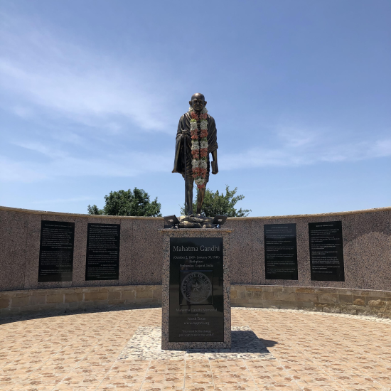 The Mahatma Gandhi Memorial Plaza is located at Thomas Jefferson Park in Irving.