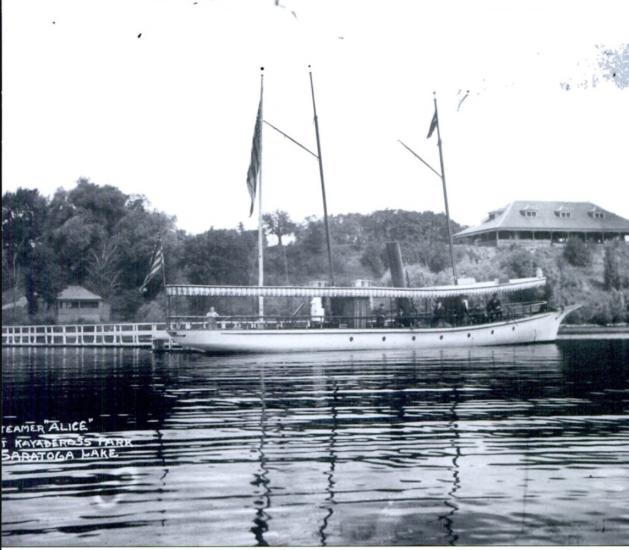 Historic photo of a boat on Saratoga Lake