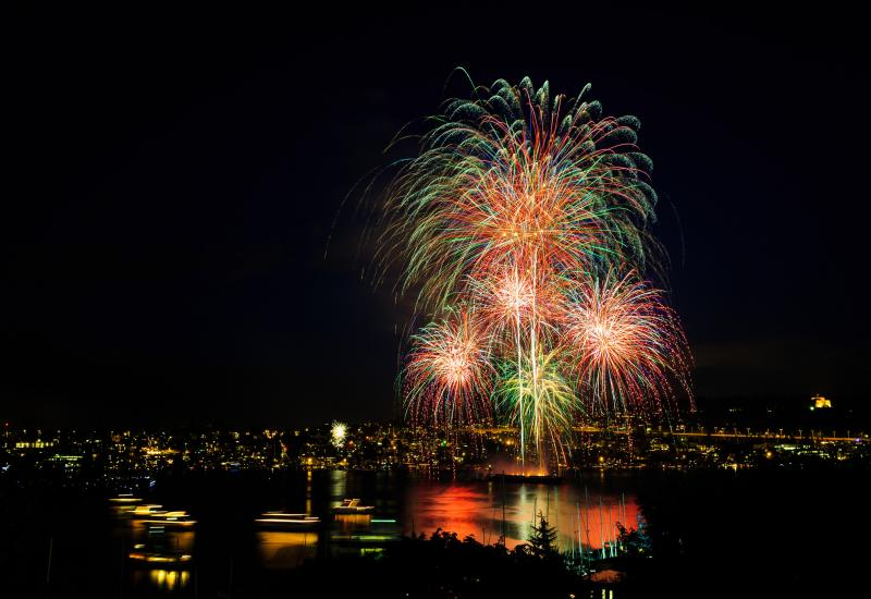 Firework display from Gasworks Park