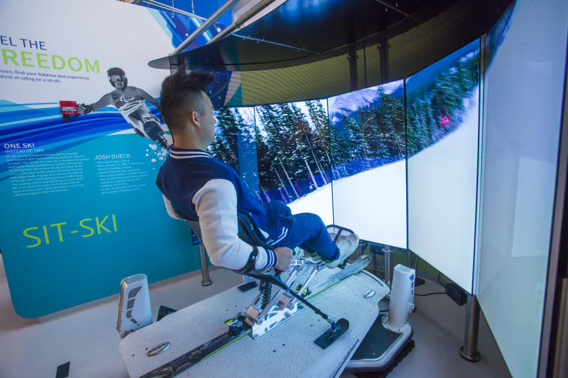 The sit-ski simulator at the Olympic Experience