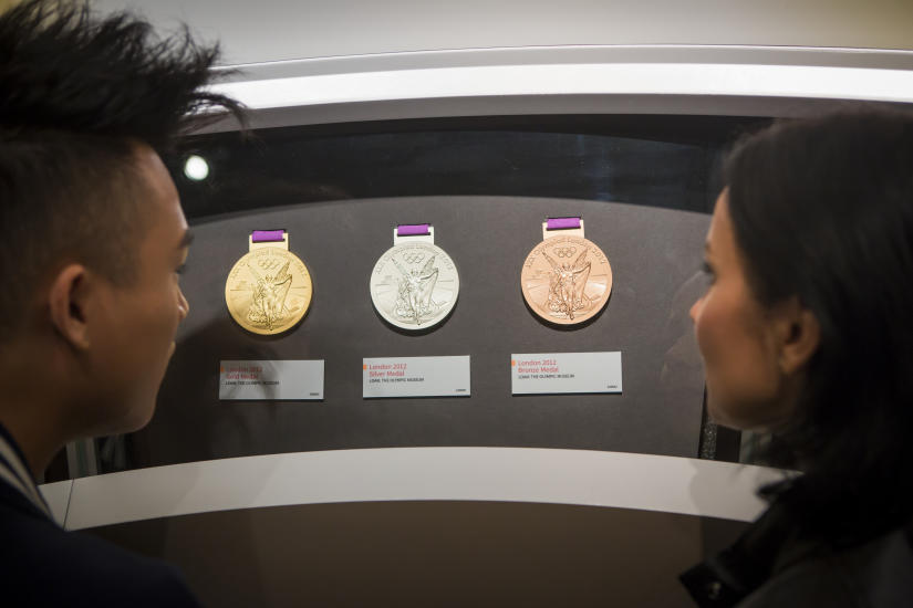 Medals on display at the Olympic Experience
