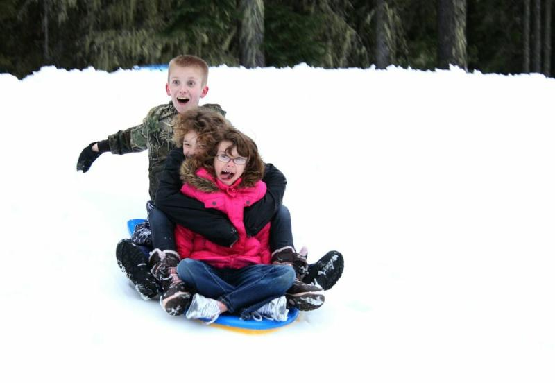 Sledding at Willamette Pass by Traci Williamson