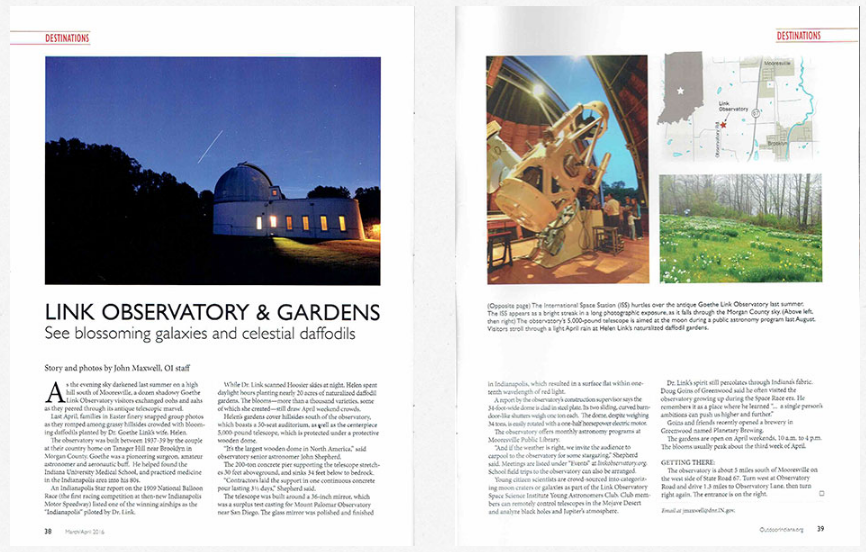 Link Observatory featured in Outdoor Indiana Magazine