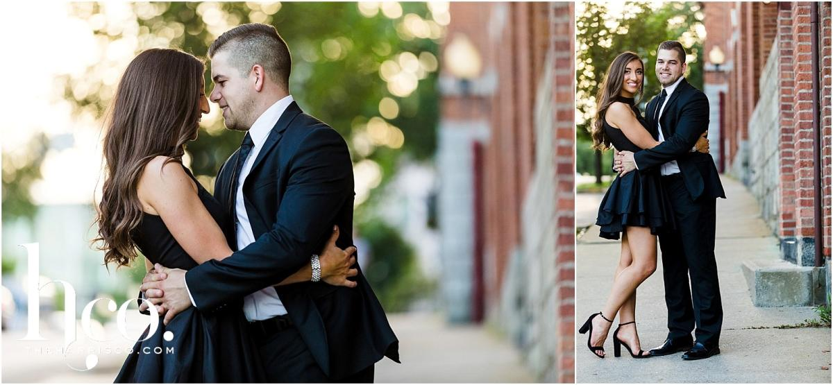 Collage of couple posing in back alleys of Saratoga