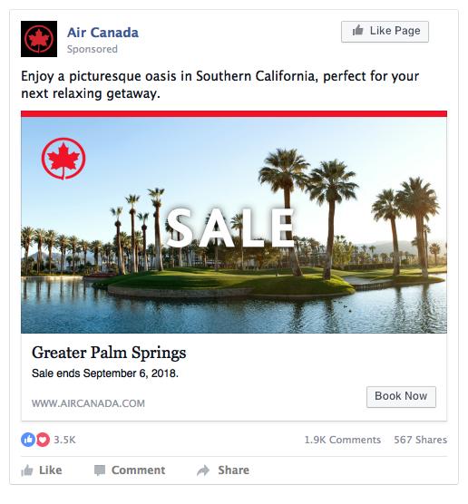 Air Canada Facebook ad