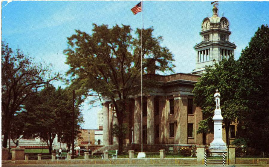 An image of the Old Madison County Courthouse, of which the clock tower met an unknown fate.