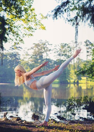 Adelaide Saucier practicing yoga