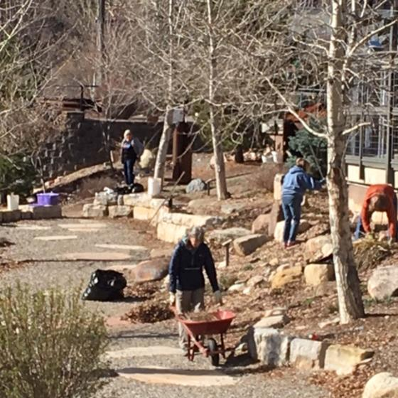 Volunteers in the Durango Botanic Gardens