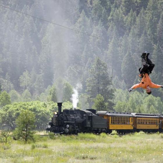 Soaring zip line with Durango Train