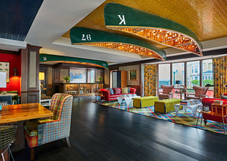 The lobby at the Graduate hotel in Madison