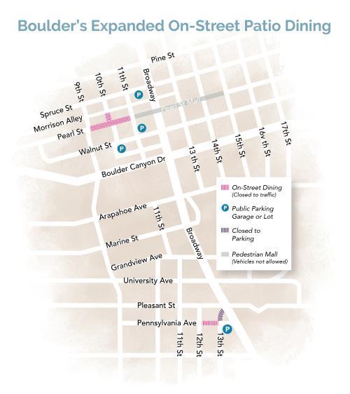 Boulder Dining Closures Map Summer 2020