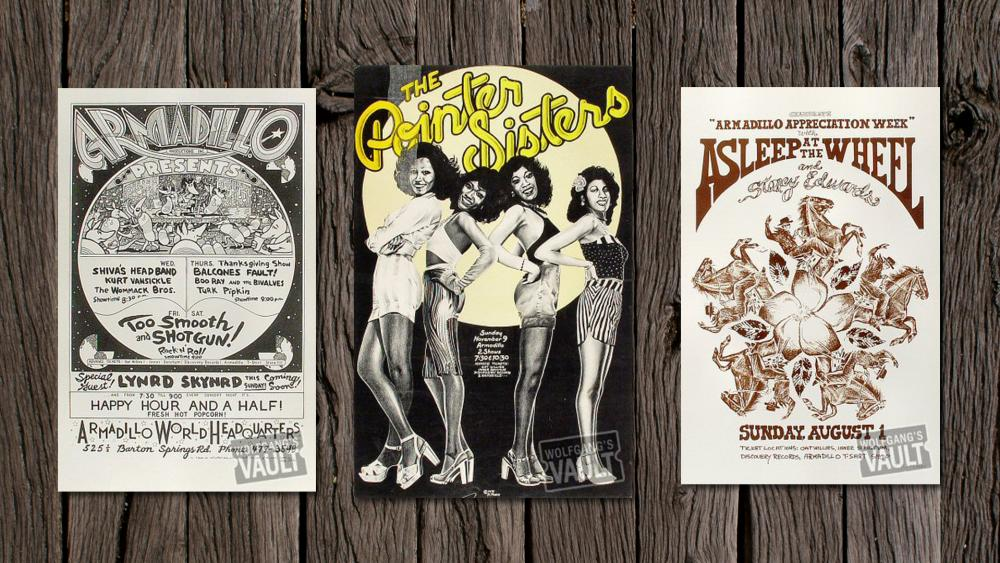 Armadillo World Headquarters Concert Posters for Lynard Skynard The Pointer Sisters and Asleep at The Wheel performances in Austin Texas